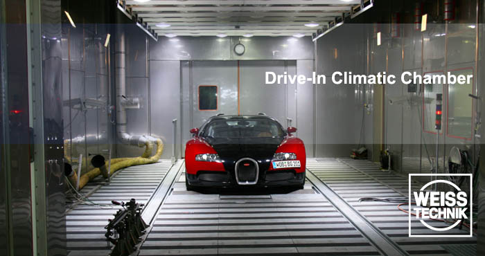 Automotive industry tests, drive-in test chambers